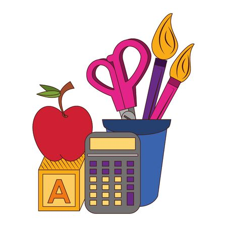 Back to school education apple and calculator with cube and brush scissors in cup cartoons vector illustration graphic design Çizim