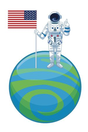 space exploration astronaut with thumb up with united states flag over a planet icon cartoon vector illustration graphic design