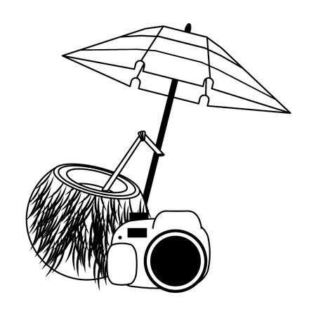 Summer coconut cocktail camera and umbrella cartoons vector illustration graphic design Иллюстрация