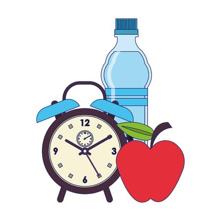 food and healthy life and water flask apple alarm clock symbols vector illustration graphic design