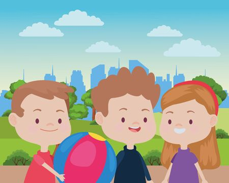 Happy kids smiling and playing with friends and ball cartoon in the park over cityscape urban scenery ,vector illustration graphic design. Фото со стока - 129268879
