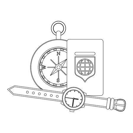 Travel vacations navigation compass wristwatch and passport cartoons vector illustration graphic design