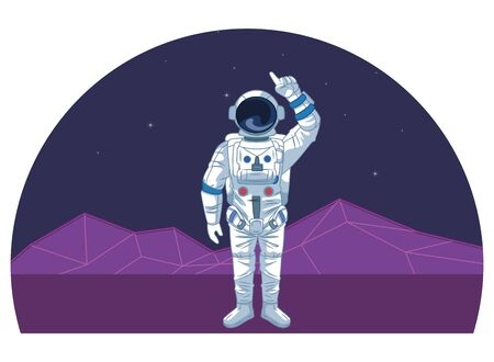 space exploration astronaut pointing up with retro futuristic mountain landscape icon cartoon vector illustration graphic design