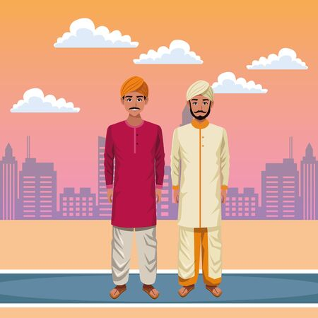 indian men wearing traditional hindu clothes man with moustache and turban man with beard and turban profile picture avatar cartoon character portrait outdoor over the street with sand, clouds in the desert and cityscape with skyscraper in orange tone vector illustration graphic design Standard-Bild - 129474572