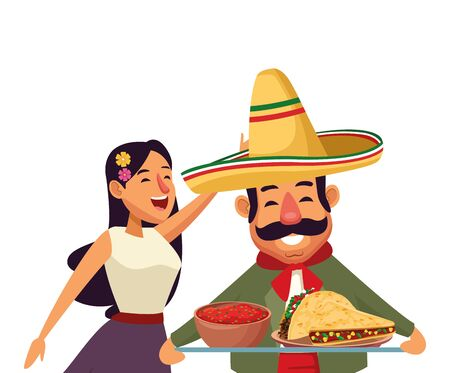 mexican traditional culture mariachis with dancer woman with flower in her hair, man with moustache, mexican hat and guitar and man with moustache, mexican hat and trumpet avatar cartoon character vec  イラスト・ベクター素材