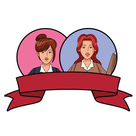 two businesswomen with bun and long hair girls avatar cartoon character profile picture portrait in round icons with ribbon banner vector illustration graphic design