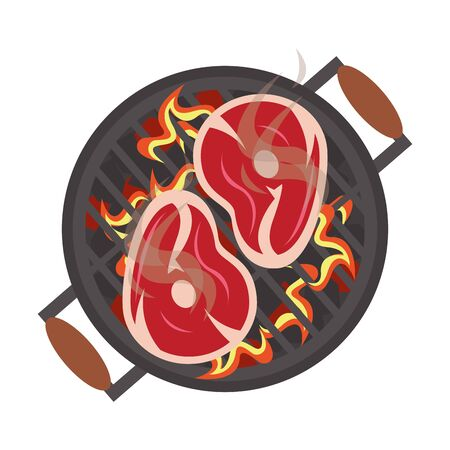 Barbecue food steaks cooking on grill vector illustration graphic design