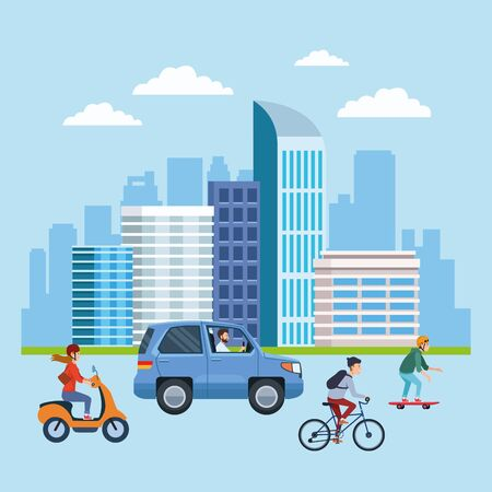 City transportation and mobility, citizens riding differents vehicles on the street with cityscape view cartoons. vector illustration graphic design. Banque d'images - 129474594
