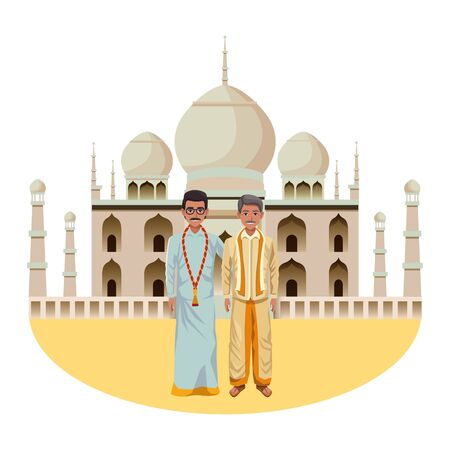 indian men wearing traditional indian clothes man with moustache man with moustache and glasses and indian monument taj mahal behind profile picture avatar
