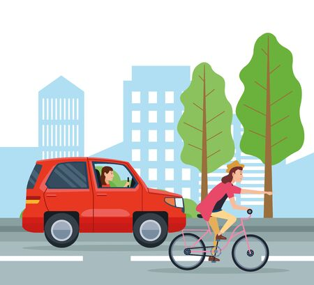 City transportation and mobility suv and bike riding on street vector illustration graphic design.