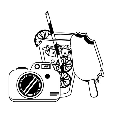 Lemonade with ice cream and camera cartoon vector illustration graphic design