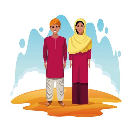 indian couple of india wearing traditional hindu clothes on deserts cape scenery vector illustration graphic design  イラスト・ベクター素材