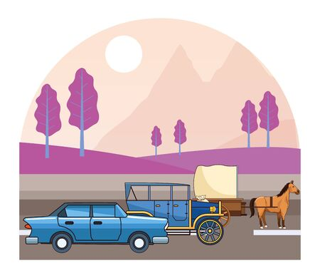 Classic cars and antique horse carriage, vintage and retro vehicles riding on highway landscape background vector illustration graphic design.