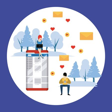 People and social media and network, couple with smartphones mailing love letters in the park Banque d'images - 129474818