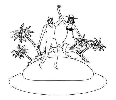 Young couple enjoying summer jumping in swimsuit in the beach scenery vector illustration graphic design