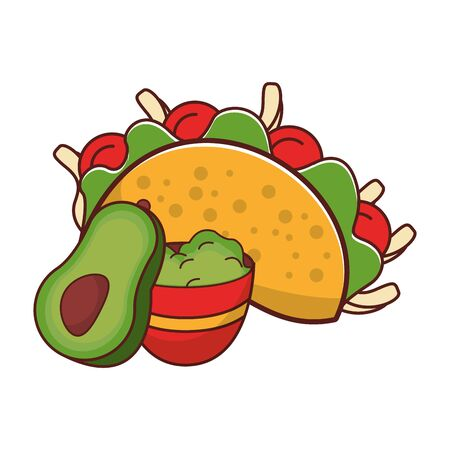 mexico culture and foods cartoons taco and guacamole also avocado vector illustration graphic design