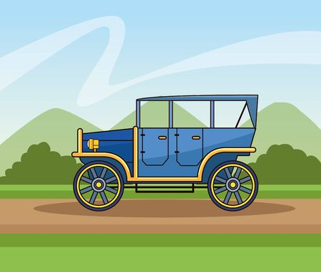 Antique classic car vehicle sideview riding on path landscape background ,vector illustration graphic design. Archivio Fotografico - 129474910