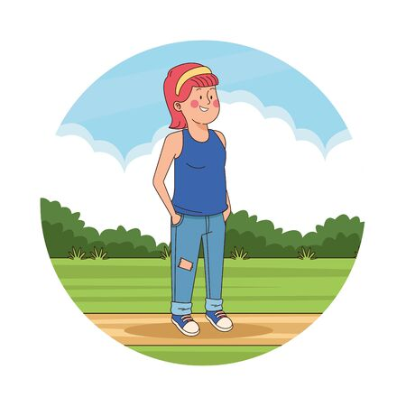 Teenager girl with hands in pockets in the park scenery round icon vector illustration graphic design