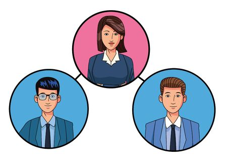 group of three business people man with glasses and woman with short hair avatar cartoon character profile picture in round icon vector illustration graphic design