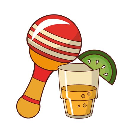mexico culture and foods cartoons glass lemon cut on the edge also the rattle vector illustration graphic design  イラスト・ベクター素材