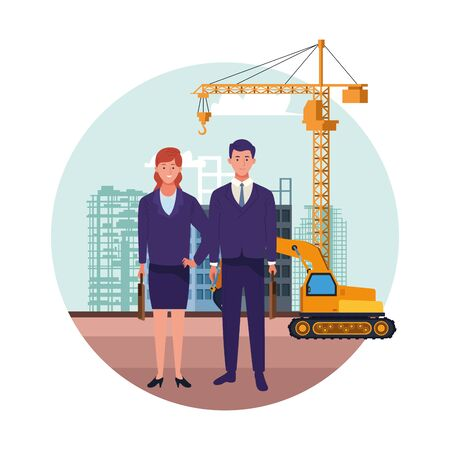 labor day employment occupation national celebration,business woman with business man colleagues workers in front city construction view cartoon vector illustration graphic design