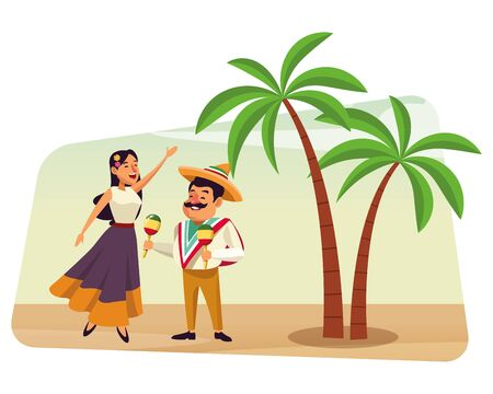 mexican food and tradicional culture with a mariachis woman singing with roses in her hair and man with mexican hat, moustache and maracas over the sand with palms profile picture avatar cartoon chara