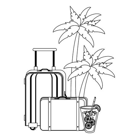 Summer luggage and suitcase with juice cup and palm trees cartoons vector illustration graphic design Banque d'images - 129474948