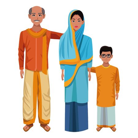 indian family woman with hiyab and man with moustache and bald next to young boy with glasses and skirt wearing traditional