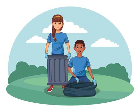 cleaning service person man picking a can and afro american woman with bandana and a stick profile picture avatar cartoon character  イラスト・ベクター素材