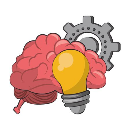 Brain and bulb light with gear cartoons vector illustration graphic design  イラスト・ベクター素材