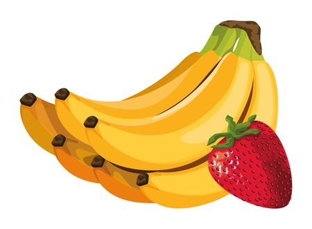 exotic tropical fruit with strawberry and banana cluster icon cartoon vector illustration graphic design Banque d'images - 129475228