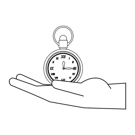 time clock antique classic style watch alarm over hand cartoon vector illustration graphic design