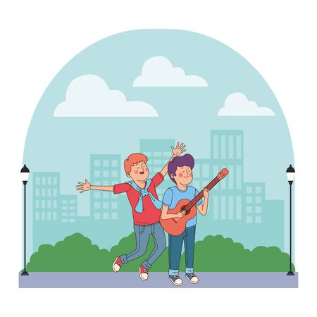 Teenagers friends playing guitar and singing cartoon in the city, urban scenery background vector illustration graphic design.