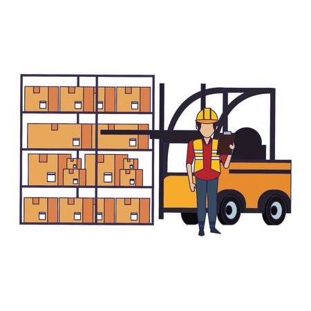 Warehouse worker with clipboard and forklift grabbing box from shelf vector illustration  イラスト・ベクター素材