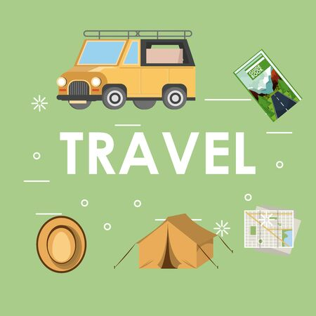 Travel and vacations cartoons truck guide book tent hat and map vector illustration graphic design