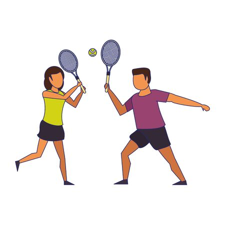 fitness couple training tennis sport cartoons isolated vector illustration graphic design