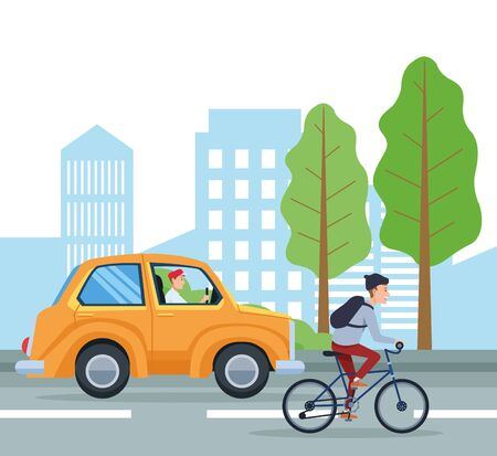 City transportation and mobility tazi and bike riding on street vector illustration graphic design.