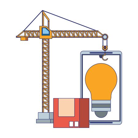 maintenance support technology web construction in smartphone hardware cartoon vector illustration graphic design Illusztráció