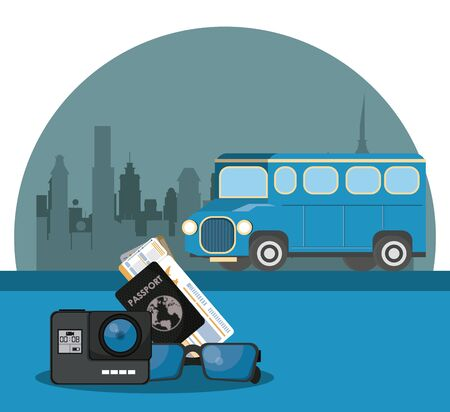 Travel passport tickets and camera with bus in the city scenery vector illustration graphic design