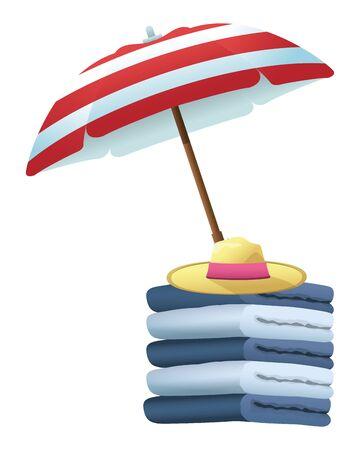 serviettes en coton entassées avec un chapeau d'été sous un parapluie, dessin animé, illustration vectorielle. Vecteurs