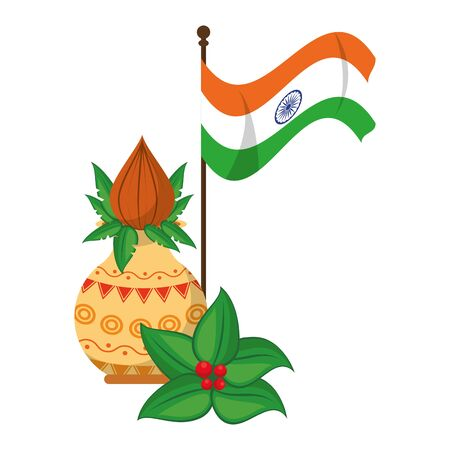 flower vase with close lotus and indian flag icon cartoon vector illustration graphic design