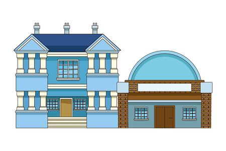 Urban buildings and city architecture, modern classics and antiques real estates edifices vector illustration graphic design. Фото со стока - 129272893