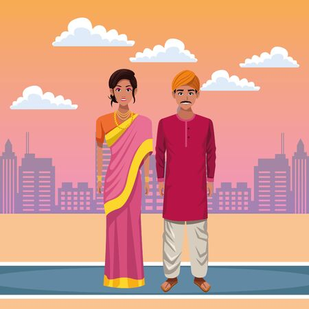 indian couple wearing traditional hindu clothes man with moustache and turban and woman wearing sari and jewelry profile picture avatar cartoon character portrait outdoor over the street with sand, cl