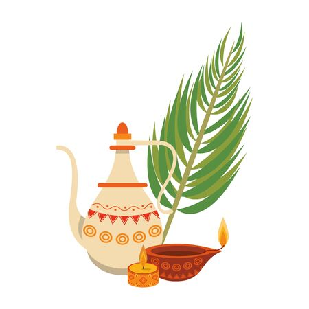 indian traditional teapot with lit candle, lamp and palm leaf icon cartoon vector illustration graphic design Иллюстрация