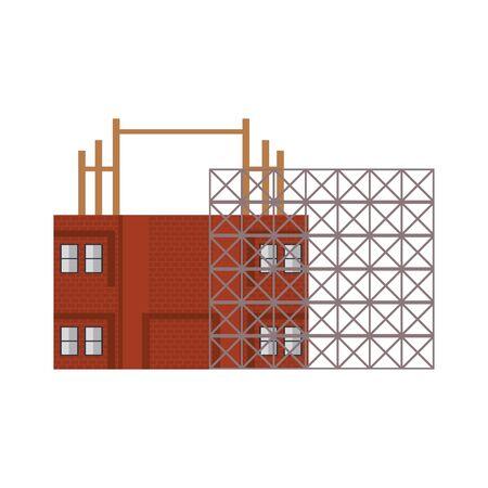 construction architectural engineering work, house under construction process cartoon vector illustration graphic design Иллюстрация