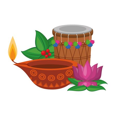 traditional indian culture elements with drum, lamp and lotus flower icon cartoon vector illustration graphic design