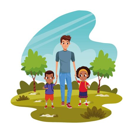 Family single father with kids holding school backpack ,vector illustration.