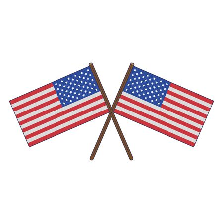 usa american independence 4th july patriotic happy celebration united states flags isolated cartoon vector illustration graphic design