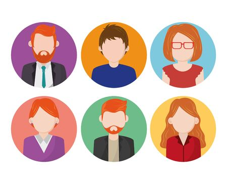 Set of people faceless characters round icons ,vector illustration.