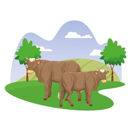 Two cows in nature scenery cartoon vector illustration graphic design